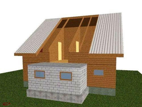 Схема пристроя к деревянному дому